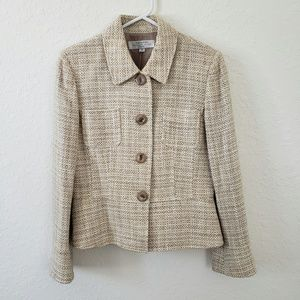 Tahari | Nude Button Front Shimmer Blazer Size 10P